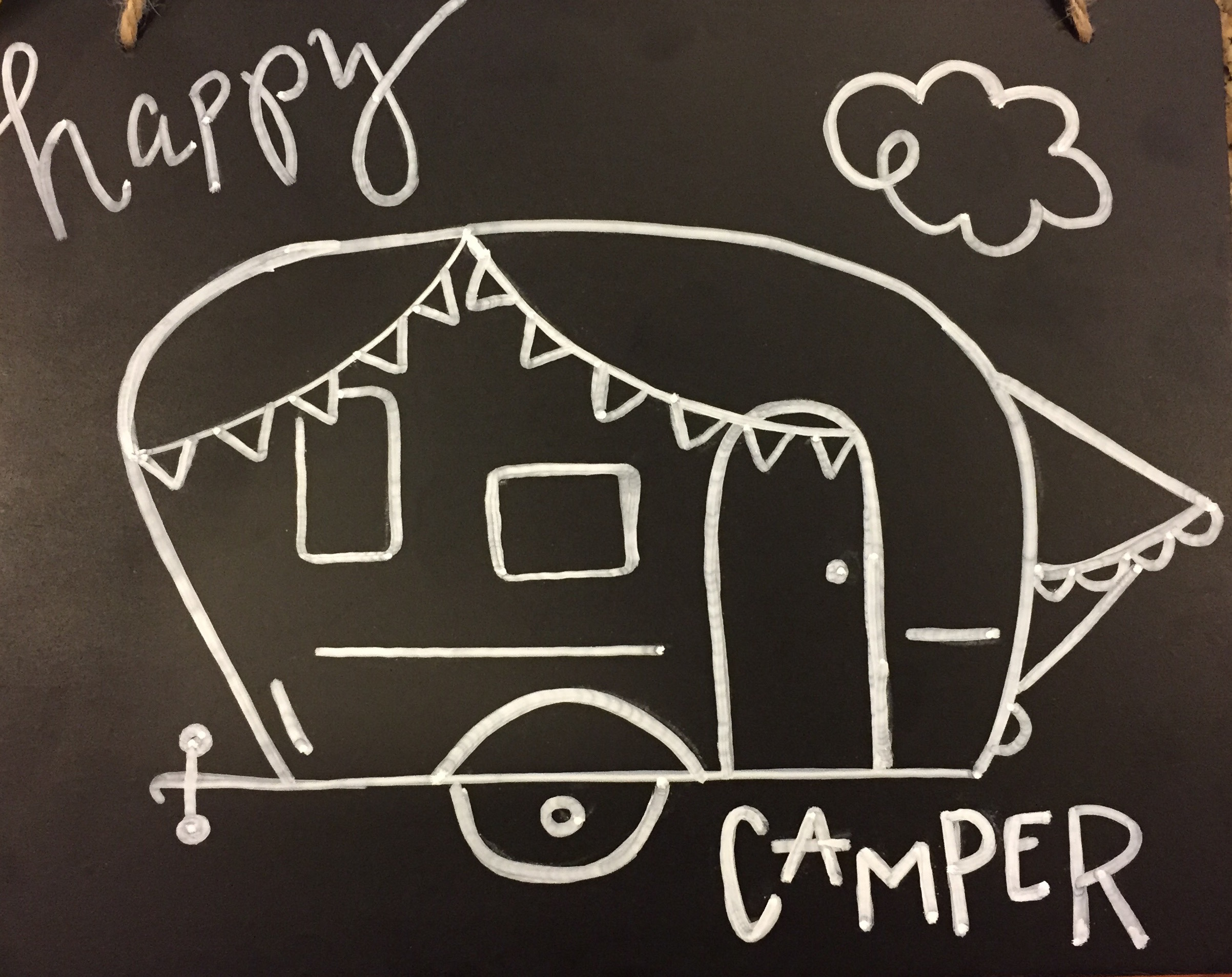 Free happy camper chalkboard stencil tutorial it started with a house for Chalkboard stencils printable